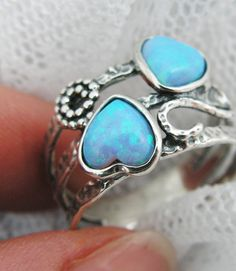 Hearts SILVER & OPAL ring (sr-9970). $62.00, via Etsy.