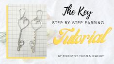 Wire Wrapping Tutorial - Heart Key Earrings, Easy, Beginner, Wire Work Step by Step, FREE tutorial by Perfectly Twisted Jewelry Handmade Wire Jewelry, Copper Jewelry, Etsy Jewelry, Jewelry Shop, Jewellery, Wire Wrapped Earrings, Wire Wrapped Pendant, Wire Wrapping Tutorial, Garnet And Gold