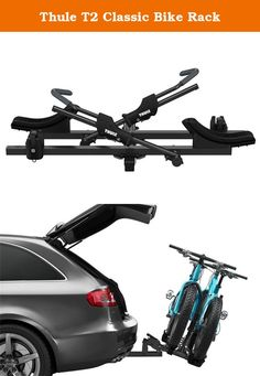 """Thule T2 Classic Bike Rack. FEATURES of the Thule T2 Classic Bike Rack HitchSwitch lever folds carrier vertically when not in use and tilts carrier away from vehicle for rear of vehicle access Frame free ratcheting arm secures bikes quickly without frame contact Fully adjustable bike mounts eliminates bike to bike interference Fits 20 - 29"""" wheels and up to 5"""" tires without adapters; ideal for carbon frames, mountain, downhill, and fat bikes Includes STL (SnugTite Lock) for locking rack…"""