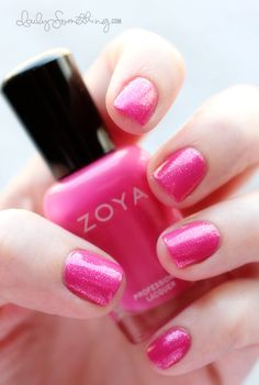 Pretty Princess Pink Nails (Base Color: Zoya Lara [2 coats], Shimmer Layer: CND Raspberry Sparkle [1 coat], Top Coat: Butter London Hardwear PD Quick Top Coat) (Daily Something)