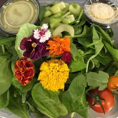 #flowerpower salad this week. #Subscription #salad delivery grown & harvested from our farm.#eatlocal
