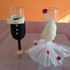 Económica y fácil Decoración para copas de bodas Economical and easy dec...