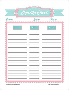Free printable Sign In Form (PDF) from Vertex42.com | computer ...