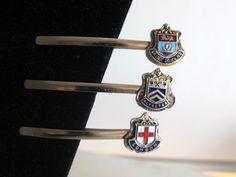 vintage heraldry enamel hair slides --