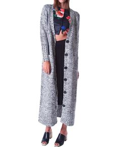 Count On You Sweater Maxi Long Cardigan Black and White