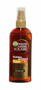 Ambre Solaire Golden Protect Sun Protective Oil Spray 150ml Spf 10 Luxurious non-greasy feeling oil for a more golden-looking tan. Enriched with Shea Butter, the formula nourishes the skin to leave your tan looking more golden and gorgeous for longer