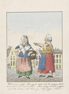 Anonymous   Vrijheid van drukpers en spreken, 1828-1830, Anonymous, 1828 - 1830   Twee vrouwen op straat, onder de mom van vrijheid van menigsuiting scheldt de één de ander uit. Onderdeel van een groep van vier spotprenten op de Belgische petitiën voor vrijheid van onderwijs, drukpers en ministeriële verantwoordelijkheid, 1828-1830.