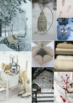 Winter wonderland mood board collage