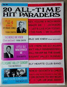 Song Book 20 All Time Hit Paraders No 69 Music Lyrics Beatles Monkees Frank Sinatra Dean Martin