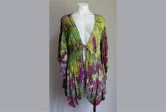 $52 - Tie dye Kimono Ice dye Cover up boho indie festival fashion Find this item on https://www.etsy.com/shop/ASPOONFULOFCOLORS?ref=hdr_shop_menu