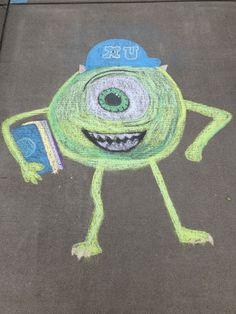 Mike Wazowski Chalk Monsters inc Sidewalk Chalk Photos, Sidewalk Art, Art, Easy Canvas Art, Graffiti Lettering, Canvas Art, Street Art Graffiti, Sidewalk Chalk Art, Chalk Photos