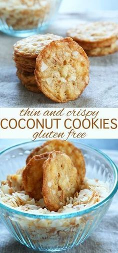 Thin and Crispy Gluten Free Coconut Cookies Gluten Free Recipes gluten free cookies Dessert Sans Gluten, Gluten Free Sweets, Gluten Free Cooking, Gluten Free Recipes, Baking Recipes, Dairy Free Cookies, Cooking Food, Gluten Free Christmas Cookies, Gluten Free Bars