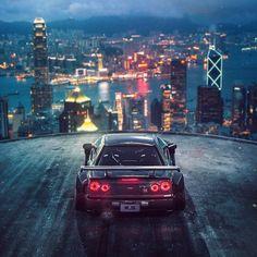 General render car city Khyzyl Saleem Nissan GTR Hong Kong Nissan Skyline GT-R R34 Skyline, Nissan Skyline Gt, Nissan Gt R, Black Car Wallpaper, Hd Wallpaper, R34 Gtr, Hongkong, Japanese Cars, Jdm Cars