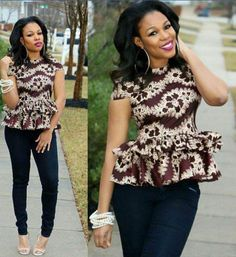 Trendy and Stylish! Ankara Styles That Will Make You Snap Up Your Look - Wedding Digest Naija African Tops, African Dresses For Women, African Attire, African Wear, African Fashion Dresses, African Women, African Beauty, African Outfits, African Clothes