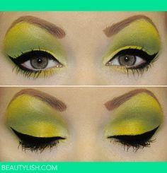 "ladypandacat: "" Canary songbook by *Honey-Lemonade "" Bright Eye Makeup, Makeup For Green Eyes, I Love Makeup, Makeup Tools, Makeup Art, Beauty Makeup, Makeup Ideas, Makeup Tricks, Beauty Bar"
