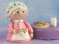 Grandmother Gnome with Milk and Cookies OOAK for Fairy Garden