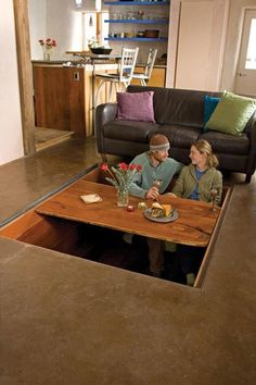 Love this! It's a table in the floor that dissapears when not being used!