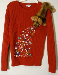 The Best Naughty And Inappropriate Ugly Christmas Sweaters For Dirty Minds UGLY Christmas Sweater~Reindeer Vomits Christmas!~Size S Diy Ugly Christmas Sweater, Reindeer Sweater, Ugly Sweater Party, Sequin Sweater, Xmas Sweaters, Christmas Crafts, Christmas Clothing, Office Christmas, Christmas Stuff