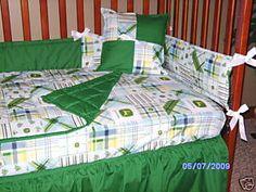 Every little boy needs this - John Deere madras crib set