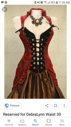 b0a8a576df by Damsel In This Dress Red and Gold Swirl Buccaneer Pirate Coat.