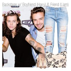 """Backstage w/ Boyfriend (Harry) & Friend (Liam)"" by fangirl-1d ❤ liked on Polyvore featuring Mode, Boohoo, Mura, Gianvito Rossi und The Giving Keys"