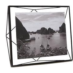 porta retrato metal vidro prisma black 8x10 picture frame cb2
