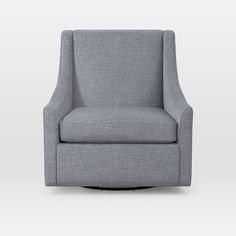Sweep Arm Swivel Chair, Heathered Crosshatch, Feather Gray