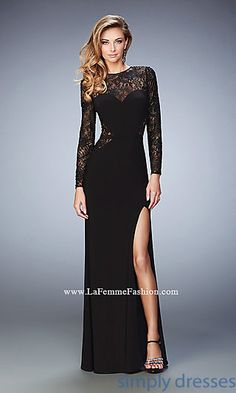 Dresses, Formal, Prom Dresses, Evening Wear: Black Long Prom Dress with Long Sleeves by La Femme