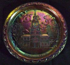 Souvnir blue carnival glass Independence Hall Plate