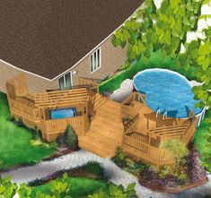 Multi-level pool and hot tub pool deck plan will enhance your backyard. Pool Deck Plans, Patio Plans, Backyard Plan, Backyard Retreat, Above Ground Pool, In Ground Pools, Spa Plan, Gazebo On Deck, Pergola