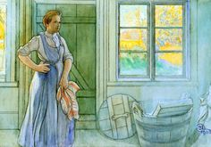 'The Laundry Room', Watercolor by Carl Larsson (1853-1919, Sweden)