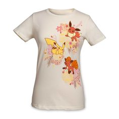 Official Kanto Blossoms fitted crewneck T-shirt. Features cute Pokémon in the middle of a bouquet of fronds and flowers. Pokémon Center Original design.
