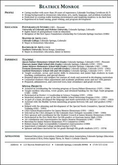 Math Teacher Resume Amazing 11 Best Teaching Resume Examples Images On Pinterest  Career .