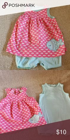 Very Cute 3 Outfits in One, 18mos Excellent conditions Carter's adorable 2 piece set. Each piece can be worn separately or can be worn together- 3 outfits! Very cute fish print dress with matching one piece. From smoke free & pet free home. Carter's Dresses