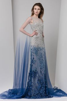 Ombré tulle dress embroidered in shades of silver and blue with illusion bateau neckline and tulle cape.