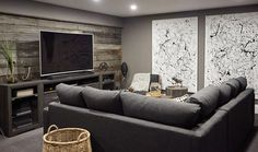 Get the Look: The Welcoming and Cozy Design of the Media Room - Home to Win Dark Couch, Dark Basement, Studio Apt, Apt Ideas, Home Cinemas, Sofa Bed, Man Cave, New Homes, House Design