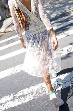 White lace dress / sneakers / trainers / summer style - TheyAllHateUs