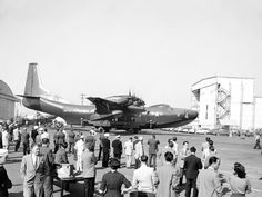 Last of the Great Flying Boats, at its November 4, 1954 public debut, an R3Y Tradewind draws a crowd to Convair's plant in San Diego