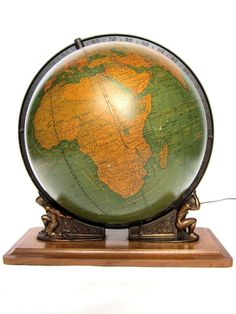 Vintage World Globe Art Deco Illuminated Glass 1949 Crams....Mine was a Christmas Gift from a friend, it is golden vs. blue color....love it!