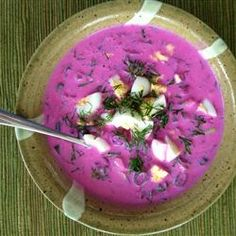 Cold Beet Soup - Lithuanian Saltibarsciai Delicious.  I added a touch of apple cider vinegar, but otherwise made to recipe ****