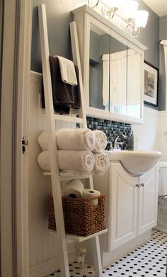 #Ladders have become a source for #storage, especially in #bathrooms, providing a space to stack rolled up #towels and other bath essentials.