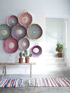 Woven baskets as wall art. art. interior design. southwestern. cactus