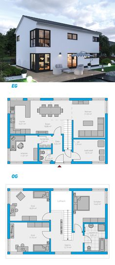 Edita 158 - Turnkey solid house # ingutenwä - home - Traumhaus Duplex House, House 2, Modern House Plans, Modern House Design, Dream House Exterior, House Layouts, House Goals, Future House, Building A House