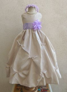 Flower Girl Dress CHAMPAGNE/Lilac PO1 Wedding by NollaCollection, $35.99