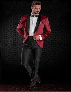 Red Jacket Black Pants Wedding Suit for Men Shawl Lapel Groom Tuxedos (Jacket+Pants+tie) Mens Suits Best Men Suits Custom  #Affiliate