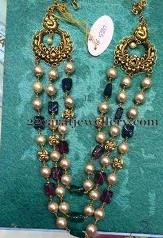 Jewellery Designs: 3 Rows Beads Set 32 Grams