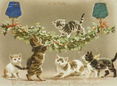 Wishing You the Whole Catalogue of Christmas Joys ~ Victorian Cats hold-to-light postcard