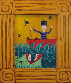 Painting and frame by PJ Hornberger. Hope I didn't miss too much good weird fish art Suzan.
