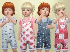 Created By SweetDreamsZzzzz Toddlers Patterned overalls Created for: The Sims 4 Set of 4 patterned overalls outfit for toddler boys and girls for everyday wear http://www.thesimsresource.com/downloads/1364956