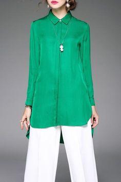 Dezzal - Dezzal Silky Asymmetric Shirt - AdoreWe.com
